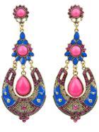 Romwe Red Drop Gemstone Gold Earrings