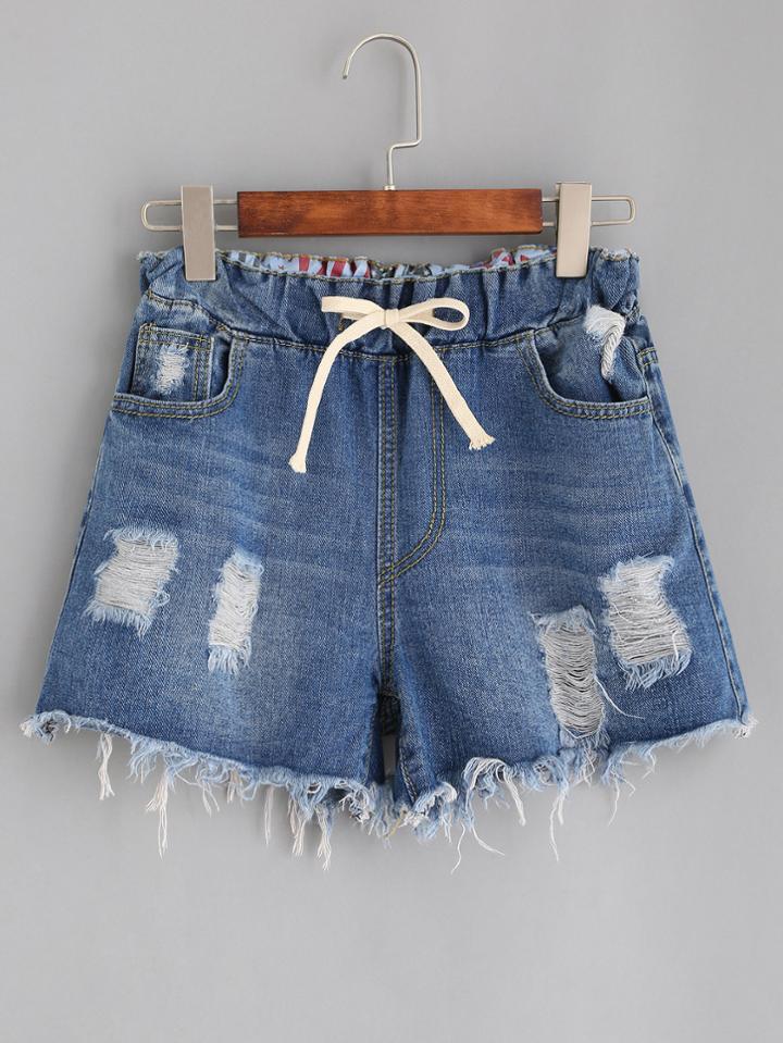 Romwe Blue Drawstring Waist Ripped Denim Shorts