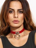 Romwe Red Faux Leather Double O Ring Choker Necklace