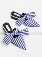 Romwe Bow Tie Striped Print Heeled Slippers