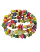 Romwe Colorful Wood Beads Bracelet
