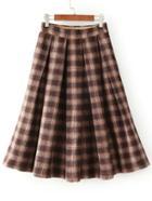 Romwe Plaid Zipper Pleated Coffee Skirt