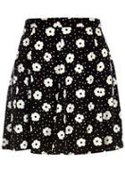 Romwe Polka Dot Floral Pleated Black Skirt