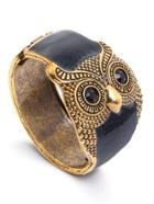 Romwe Black Enamel Bronze Metal Retro Owl Wide Bangle