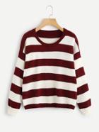 Romwe Drop Shoulder Contrast Striped Sweater