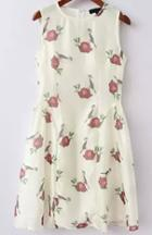 Romwe Flower Print Sun Dress