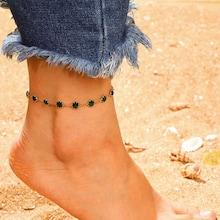 Romwe Gemstone Detail Chain Anklet 1pc