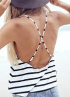 Romwe Black White Criss Cross Back Striped Cami Top