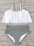 Romwe Striped Flounce Bikini Set
