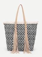 Romwe Tassel Detail Geometric Pattern Tote Bag