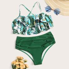 Romwe Random Tropical Layered Top With Ruched Bikini Set