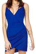 Romwe Romwe V-neck Strapped Backless Blue Dress