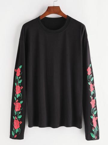 Romwe Black Florals Drop Shoulder T-shirt