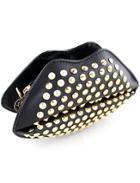 Romwe Black Rivet Pu Leather Satchels Bag