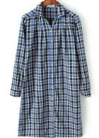 Romwe Blue Long Sleeve Plaid Loose Blouse