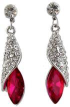 Romwe Rose Red Gemstone Silver Crystal Stud Earrings