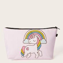Romwe Rainbow & Cartoon Animal Pattern Makeup Bag