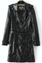 Romwe Double Breasted Belted Trench Coat