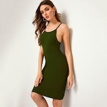 Romwe Solid Ribbed Cami Dress