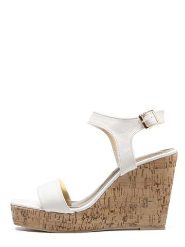 Romwe White Peep Toe Buckle Cork Wedges