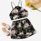Romwe Floral Print Cami Top With Shorts