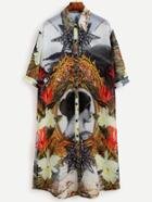 Romwe Multicolor Abstract Print Half Sleeve Tshirt Dress