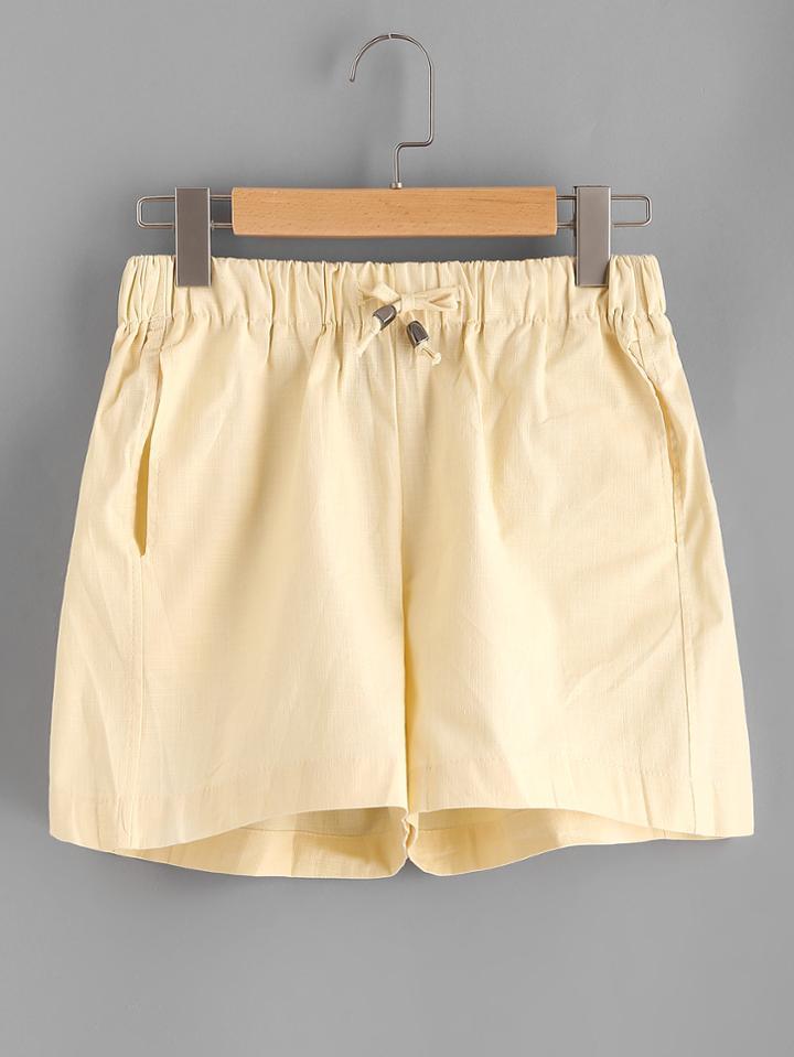 Romwe Elastic Drawstring Waist Shorts