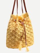 Romwe Yellow Scallop Straw Drawstring Bucket Bag