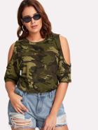 Romwe Open Shoulder Camouflage Top