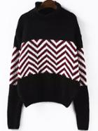 Romwe High Neck Striped Black Sweater