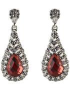 Romwe Red Gemstone Drop Earrings
