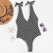 Romwe Low Back Random Polka Dot Swimsuit