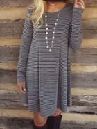 Romwe Long Sleeve Striped Tshirt Dress