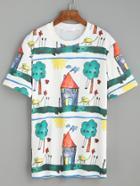 Romwe White Drawing Print T-shirt