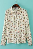 Romwe Owl Print Apricot Blouse