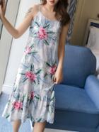 Romwe Botanical Print Ruffle Hem Cami Dress