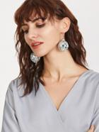 Romwe Silver Disco Ball Drop Earring