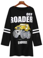 Romwe Black Letter Car Print Tshirt Dress