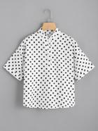 Romwe Polka Dot Single Breasted Cuffed Shirt