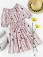 Romwe Shirred Stripe Cherry Print Frill Trim Dress