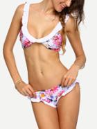 Romwe Ruffle Trim Flower Print Bikini Set