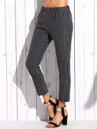 Romwe Grey Vertical Striped Skinny Pants