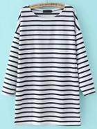 Romwe Dropped Shoulder Seam Striped Tshirt Dress