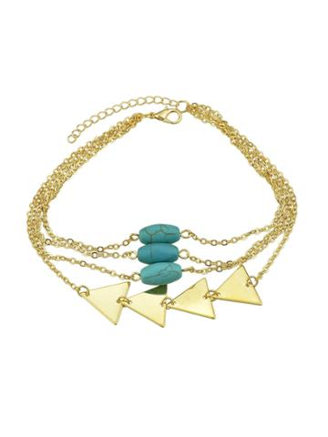 Romwe Gold Multi Layers Bangles Chain With Blue Beads Triangle Shape Arm Bracelets