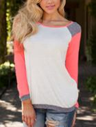 Romwe White Color Block Raglan Sleeve Tshirt