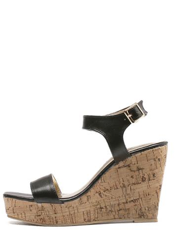 Romwe Black Peep Toe Buckle Cork Wedges