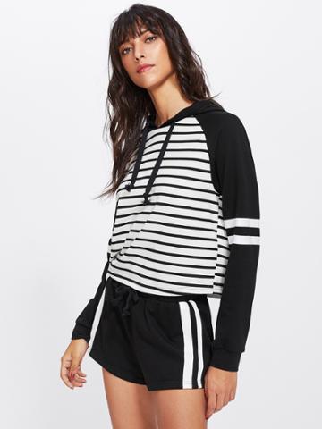 Romwe Two Tone Striped Hoodie & Shorts Set