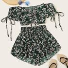 Romwe Ditsy Floral Drawstring Shirred Off Shoulder Top With Shorts