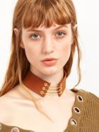 Romwe Brown Metal Chain Wide Choker Necklace