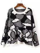 Romwe Geometric Jacquard Black Sweater